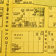 historical map of downtown Mobile, AL